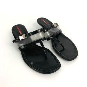 Prada Black Linea Rossa Thong Sandal Kitten Heel